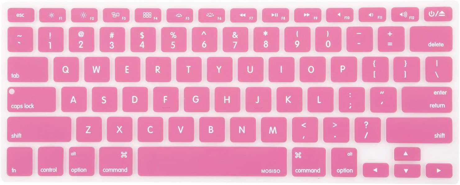 MOSISO Silicone Keyboard Cover Compatible with MacBook Pro 13/15 Inch (with/Without Retina Display, 2015 or Older Version),Older MacBook Air 13 Inch (A1466 / A1369, Release 2010-2017), Pink