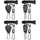 iPower 2-Pack 1/8 Inch 8-Feet Long Adjustable Heavy Duty Rope Clip Hanger, Reinforced Metal Internal Gears,150lb Capacity