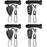 iPower GLROPEX2 2-Pair 1/8 Inch 8-Feet Long Heavy Duty Adjustable Rope Clip Hanger (150lbs Weight Capacity) Reinforced Metal, 2 Pack, Black
