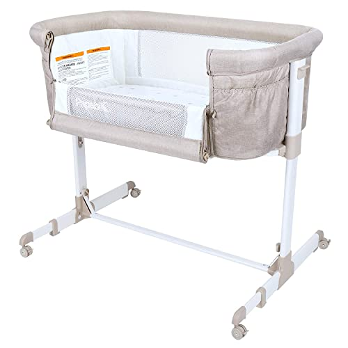 Papablic 2-in-1 Anio Baby Bassinet Bedside Sleeper, Brown