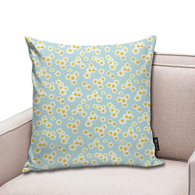 Zara-Decor Daisies On Aqua Home - Funda de cojín Decorativa ...