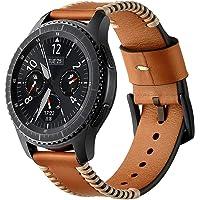 Ocamo 22 mm Correa de Piel Suave de Repuesto Pulsera de Acero Inoxidable Hebilla Cierre Samsung Gear S3 Reloj Inteligente Deportivo