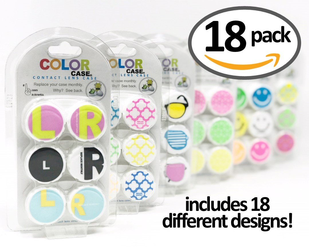 Contact Lens Case, 18 Super Fun Designs (pack of 18) WatchDog Group