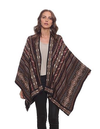 665ab3e2a Invisible World Women's Poncho Alpaca Wool 100% Ruana Cape Winter Fall Huari