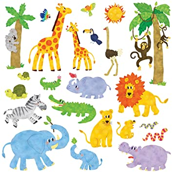 Decowall DW-1513 Animaux Jungle Autocollants Muraux Mural Stickers ...