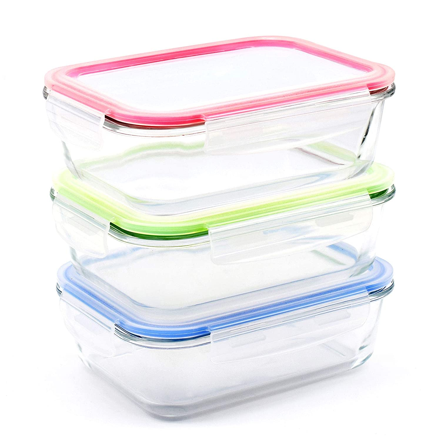 RENPHO [3-Pack, 36oz] Glass Meal Prep Containers - Glass Bento Box Divided Food Storage Containers with Airtight Lids Lunch Glass Containers - Microwave,Oven,Freezer,Dishwasher Safe