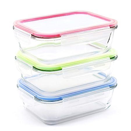 Renfo - Juego de 3 recipientes para comida de cristal, con tapa ...