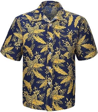 Camisas Hombre Manga Corta Blusa Hombre Camiseta de Playa para Hombre Camisas Hawaianas Hombre Camisa de Manga Corta para Hombre Camisa de Hombre Impresa Moda de Verano Top de Playa: Amazon.es: Ropa