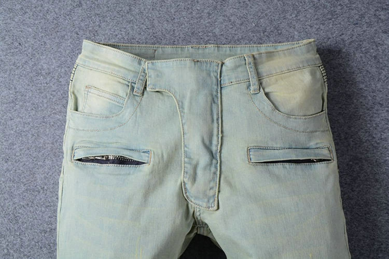 BiePa Fashion Men's Jeans Casual Slim Straight Jeans Denim Pants Trousers