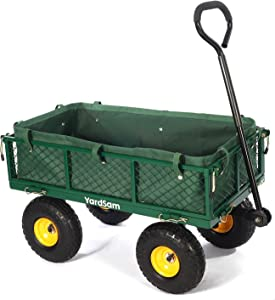 Yardsam Utility Steel Garden Carts and Wagons, Lawn Wagon Cart Heavy Duty, 400lb Weight Capacity, Removable Sides, Long Handle, 10 Inch Wheels and 600D Polyester with PVC Coated Liner (Green)