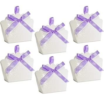 Amazon 50 Scalloped White Favor Bag Boxes Craft Kit With