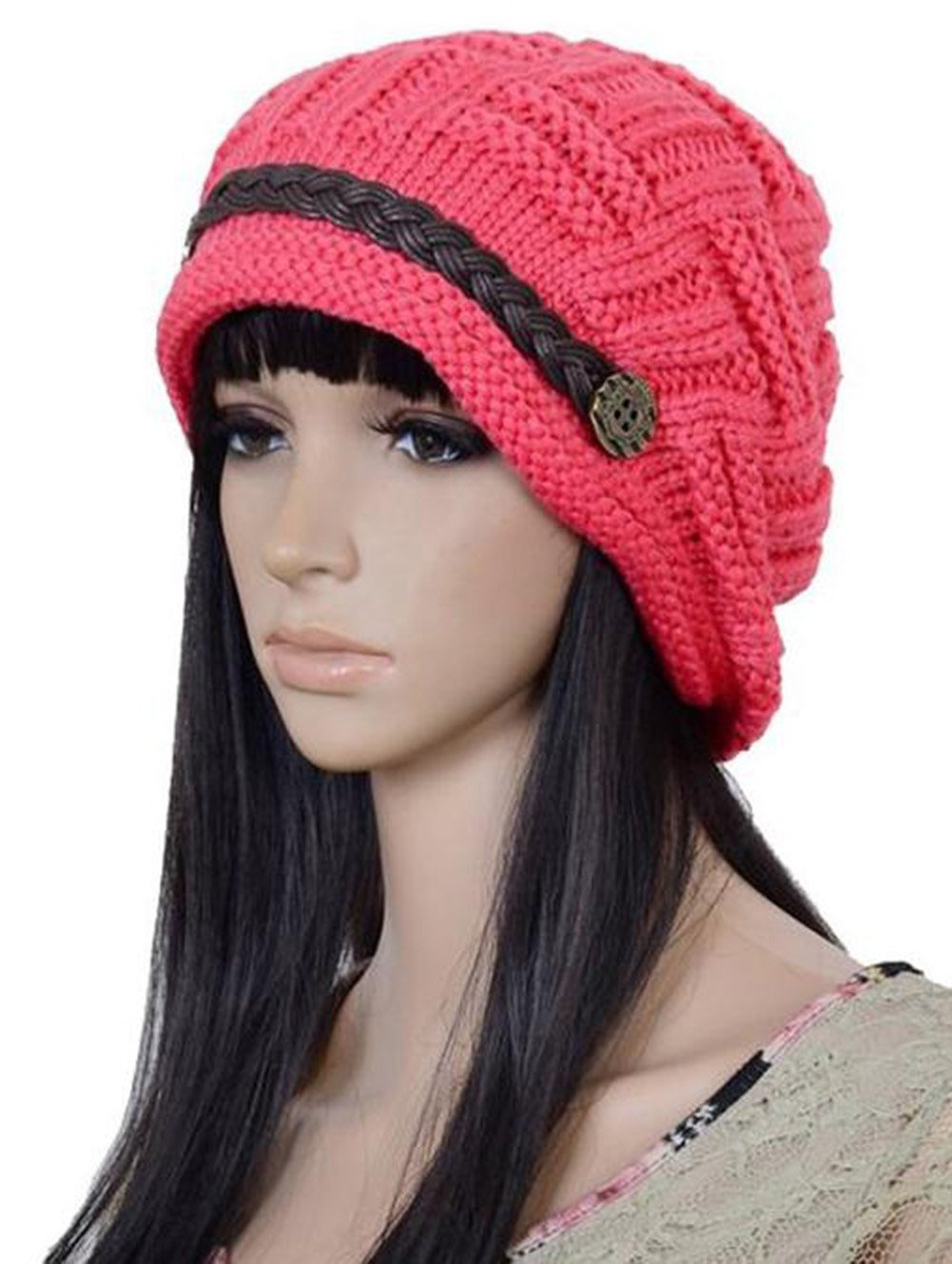 Cdet 1X Fashion Women Knitted Winter Warm Flower Beanie Ladies Brim Ski Cap Bowler Hat Slouchy Cap Black