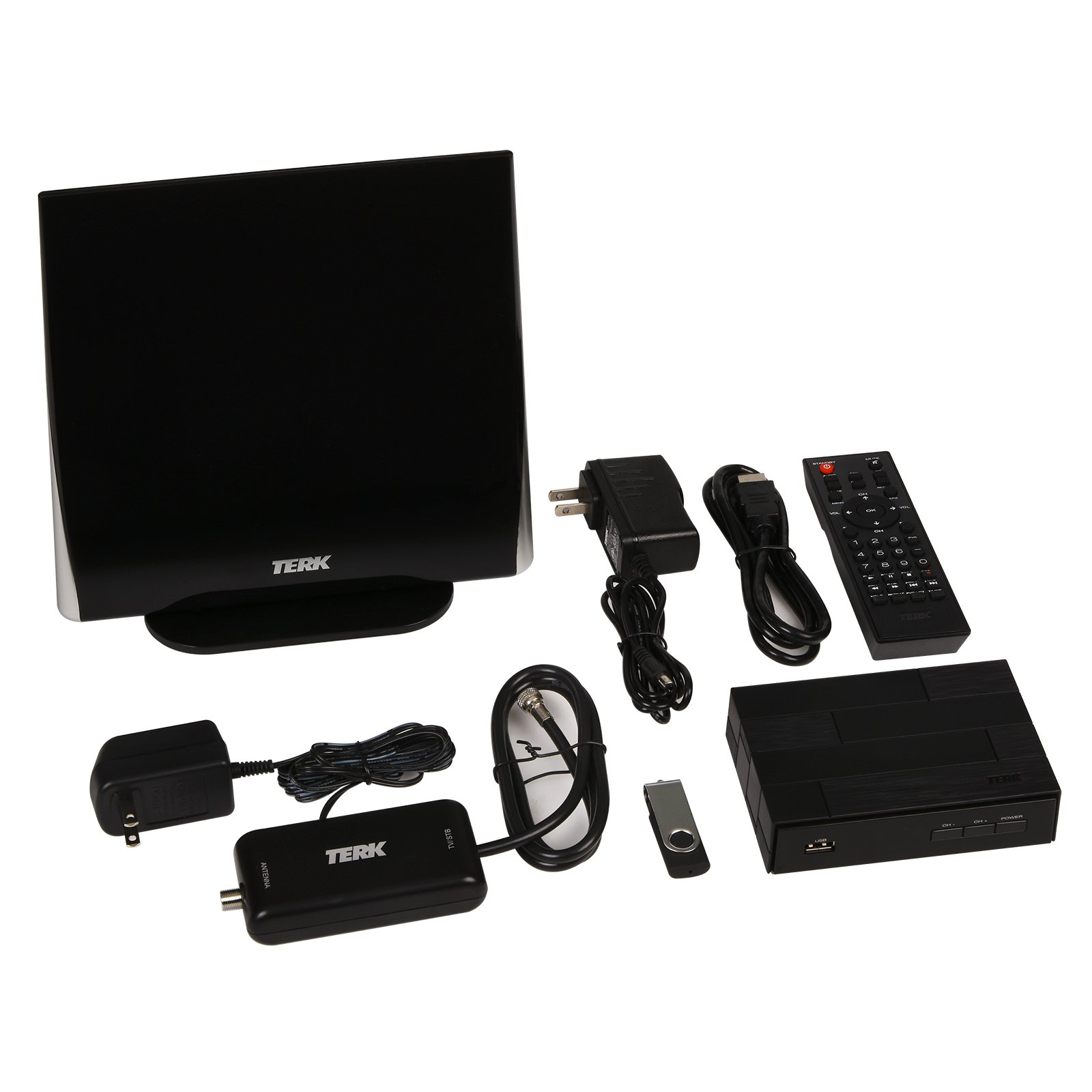 TERK Complete Cord Cutter Kit – Record LIVE TV with the Digital Converter Box & HDTV Antenna Bundle (2 Pack)