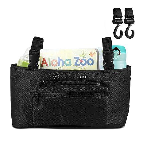 Organizador para cochecito de bebé – Uiter bolsa de almacenamiento con bolsillo separable para cochechitos de bebé, con dos ganchos