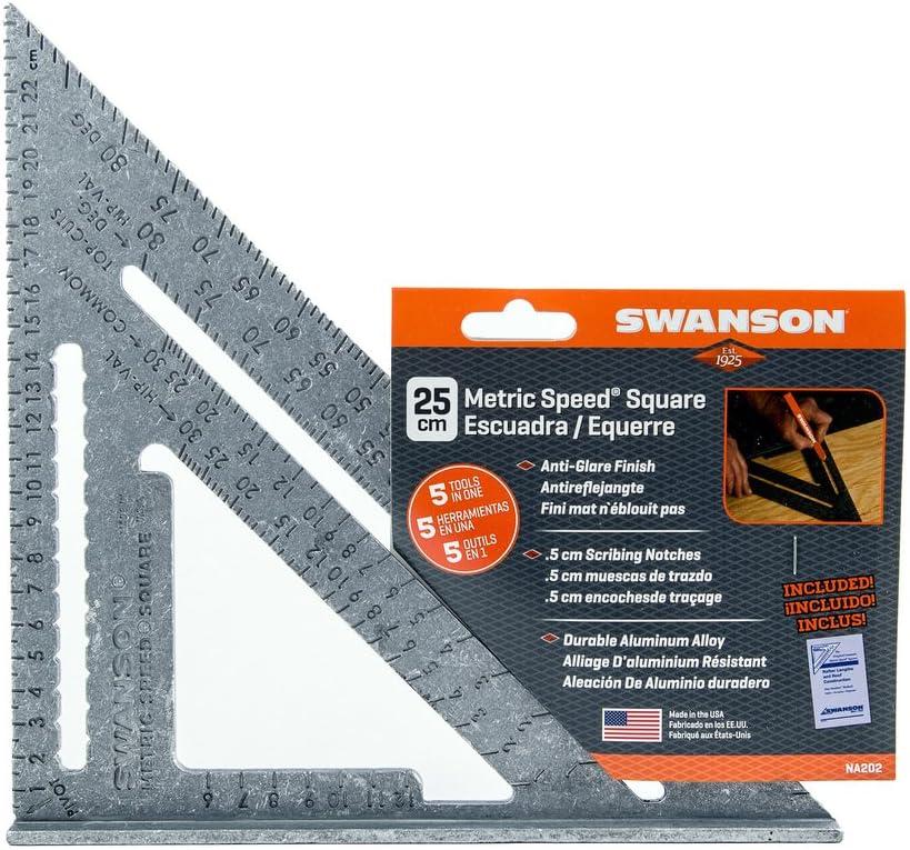 Swanson Metric Speed Square Aluminium Swanson outil US Vendeur Neuf