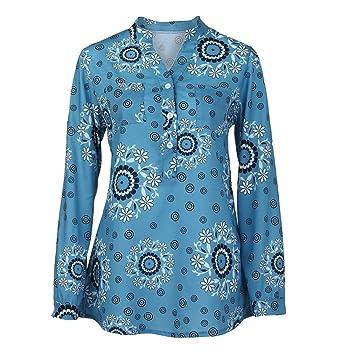 Mujer blusa tops casual otoño manga larga,Sonnena Blusa con estampado floral de manga larga