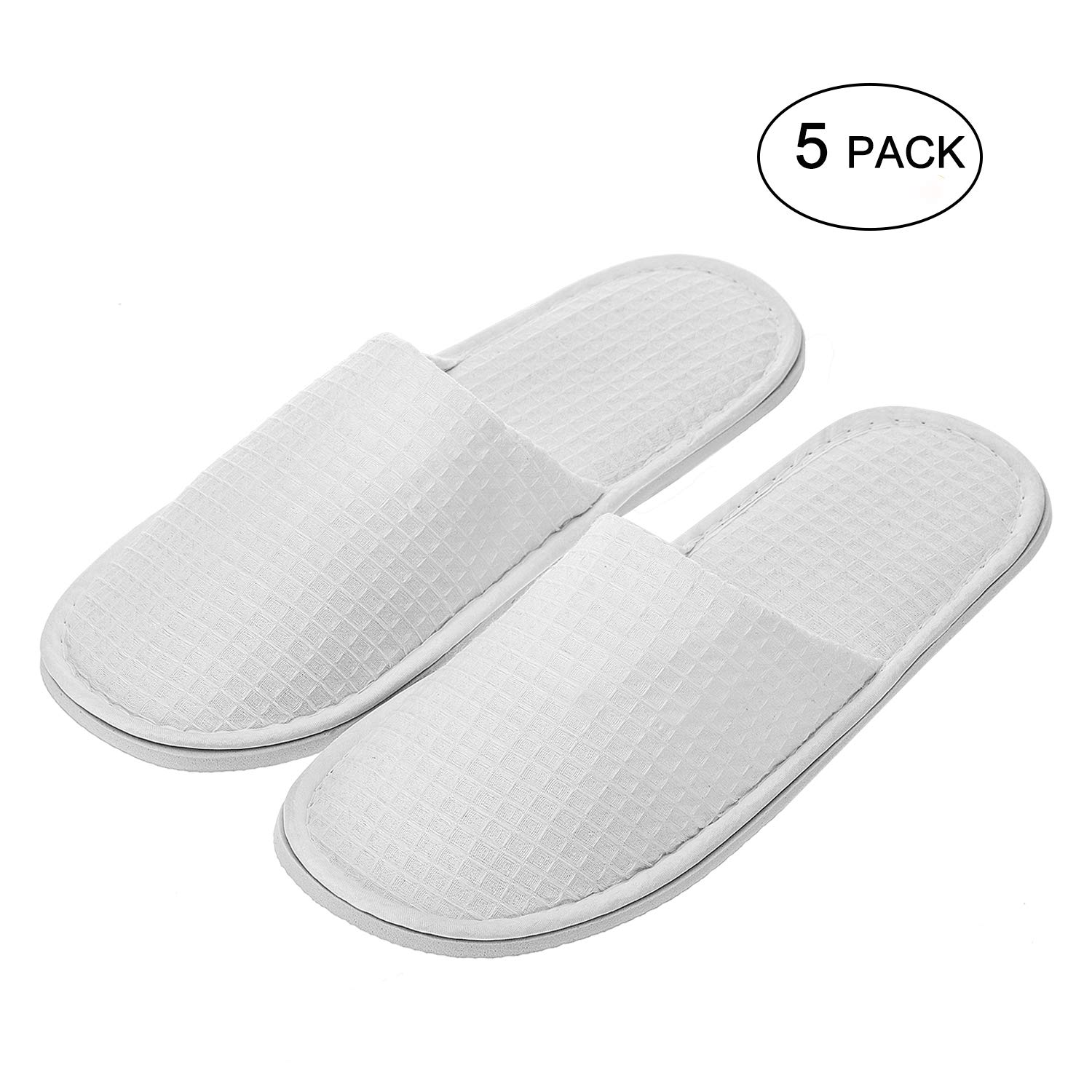 echoapple Waffle Closed Toe White Slippers-Two Size Fit Most Men and Women for Spa, Party Guest, Hotel and Travel (Medium, White-5 Pairs) by echoapple