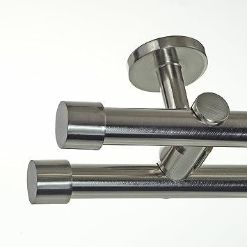 Edelstahl Look Gardinenstange ø 20mm Deckenträger 2 Läufig