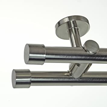 Edelstahl Look Gardinenstange O 20mm Deckentrager 2 Laufig