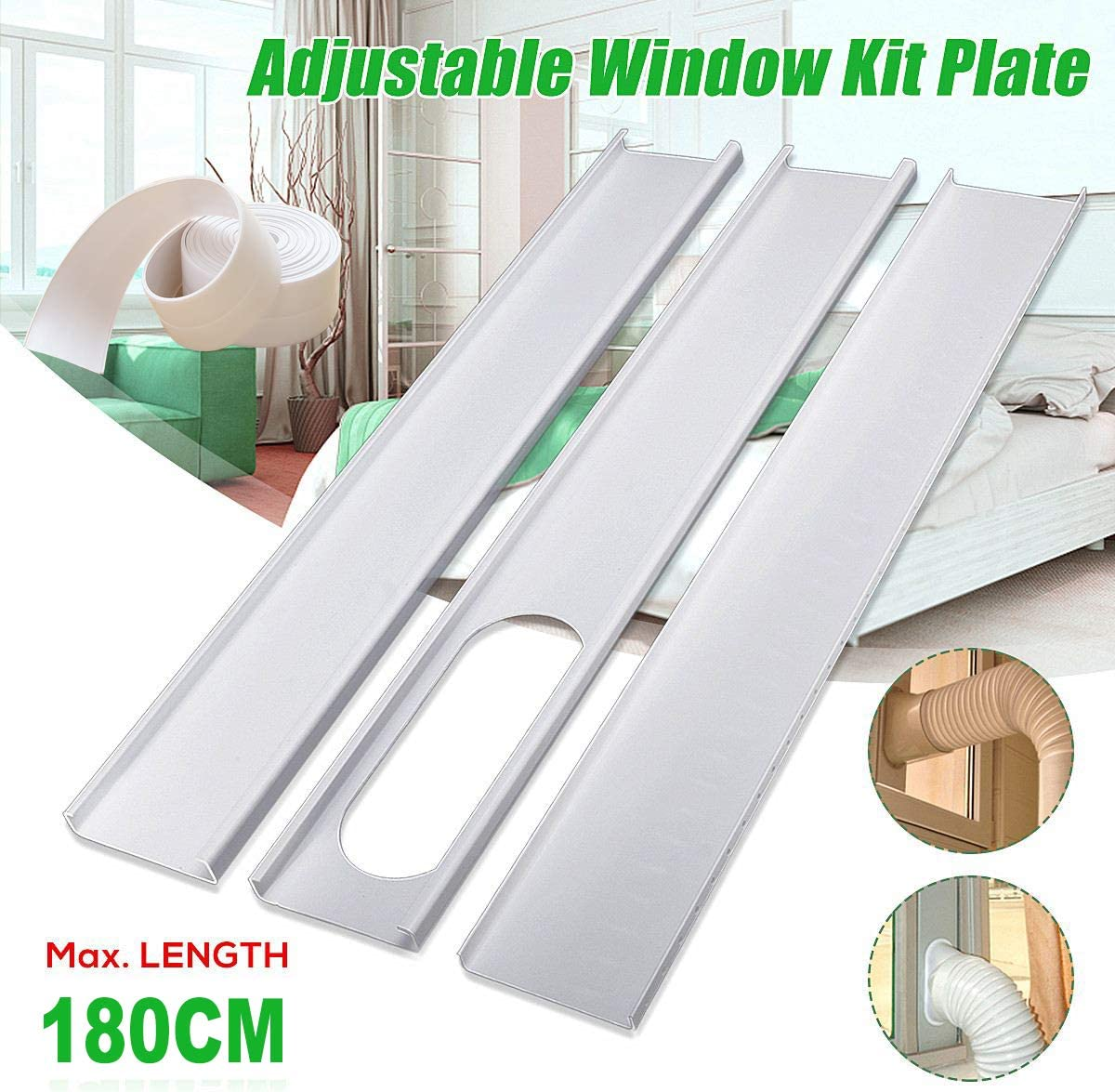 "Aozzy Portable Air Conditioner Plastic Window Kit Vent Kit for Sliding Glass Window (13CM(5.0"") Hose, Adjustable Length between135cm-180cm Portable AC Replacement Window Slide Kit Plate Panel"