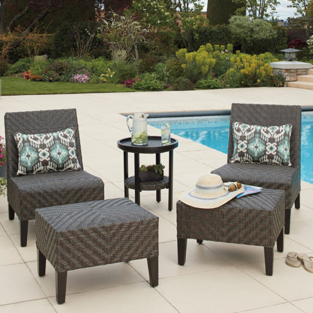 Agio fairmont garden dining set for outdoors 5 piece set chairs woven design table ottomans with cushions amazon co uk garden outdoors