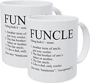 Willcallyou Pack of 2 Uncle, Funcle like A Dad 11 Ounces Funny White Coffee Mug