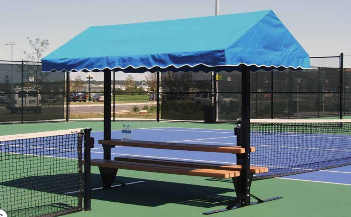 Tennis Court Seating - Har Tru Cabana Bench table 8' by Har-Tru