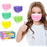 """Kids Face Mask Disposable-50 Pack Colorful Mask for Boys and Girls-Soft on Skin, 3 Ply - 5.4"""" x 3.6"""" Children's Size…"""