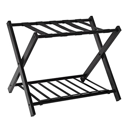 SONGMICS Metal Folding Luggage Rack With Shelf Luggage Stand For Suitcase  For Home Bedroom Guestroom Hotel
