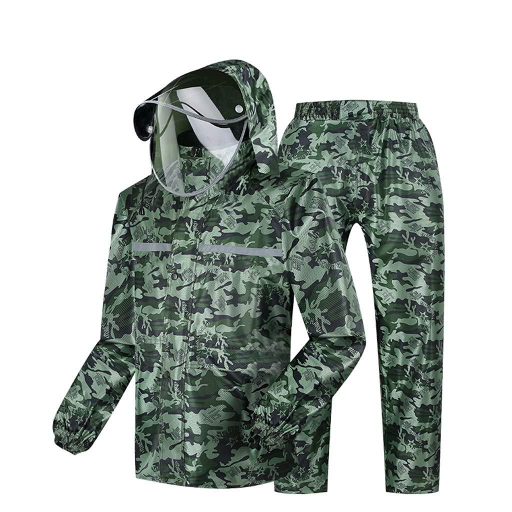 Camouflage XXXL LLHYTT Imperméable imperméable Adulte, Pantalon de Pluie épais pour Tout Le Corps, imperméable, Costume de Pluie Anti-tempête Fendue Poncho imperméable Yuyi