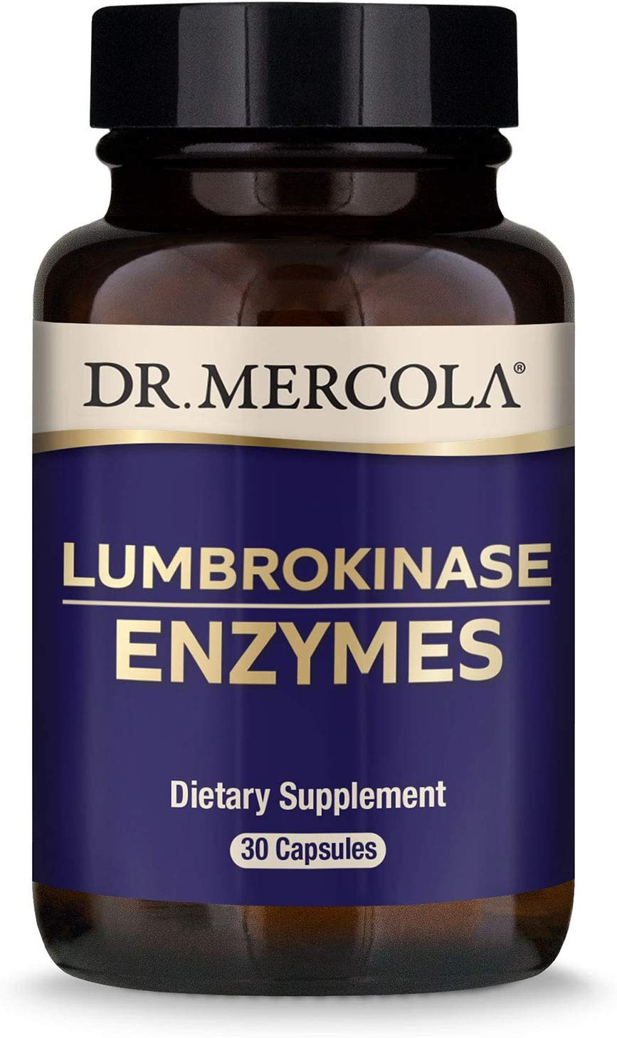 Dr. Mercola Lumbrokinase Enzymes Dietary Supplement, 30 Servings (30 Capsules), Supports Cognitive and Cardiovascular Health*, Non GMO, Soy Free, Gluten Free
