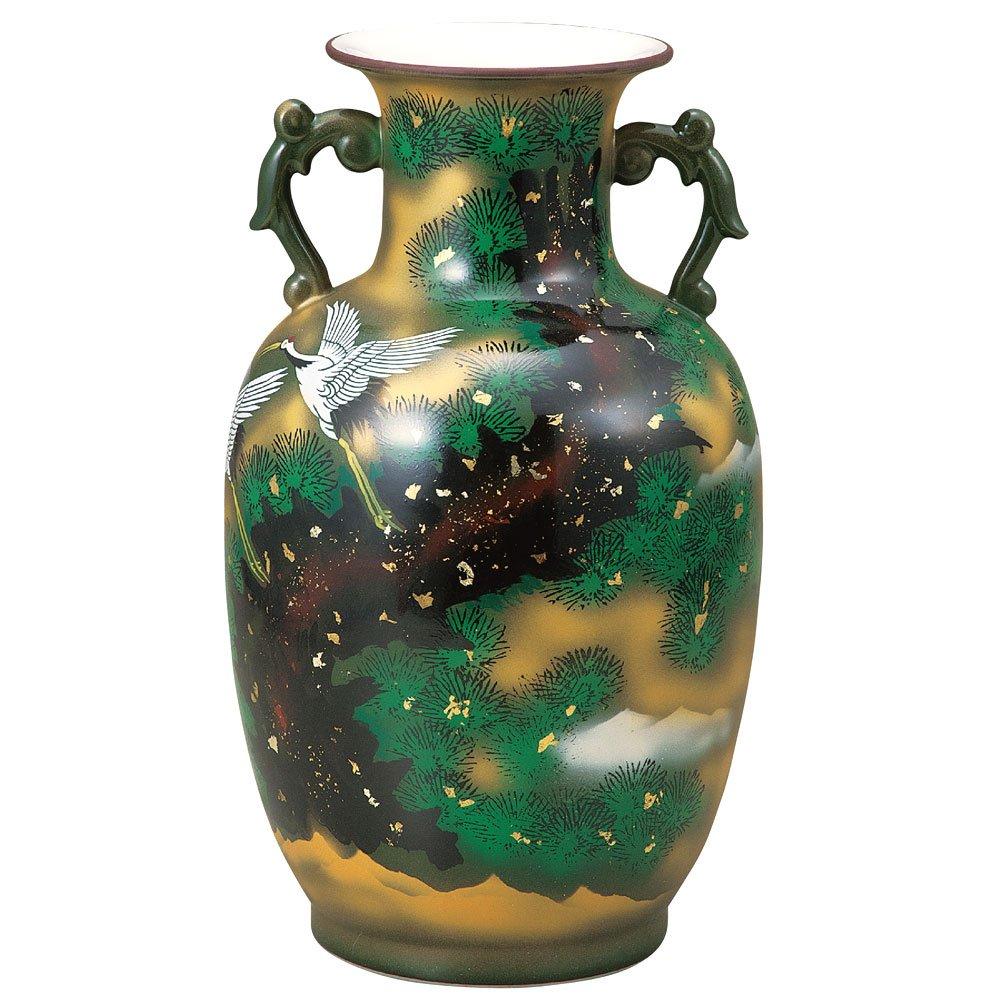 九谷焼 陶器 花瓶 松に鶴 BK5-1361 B076VM5HT3