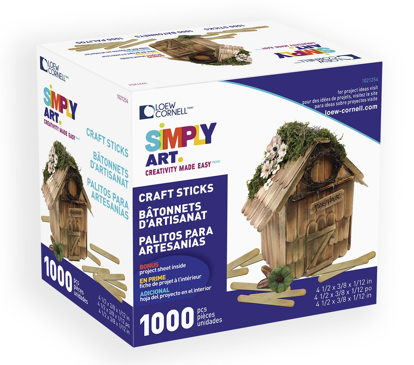 Loew-Cornell Simply Art Wood Craft Sticks 1000 ct. Loew Cornell 1021254