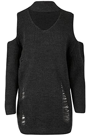 1c2d2e21f16a1 Image Unavailable. Image not available for. Colour  Fashion Star Womens  Chunky Knitt Off The Shoulder Shredded Destroyed Rip Mini Jumper Dress (Plus
