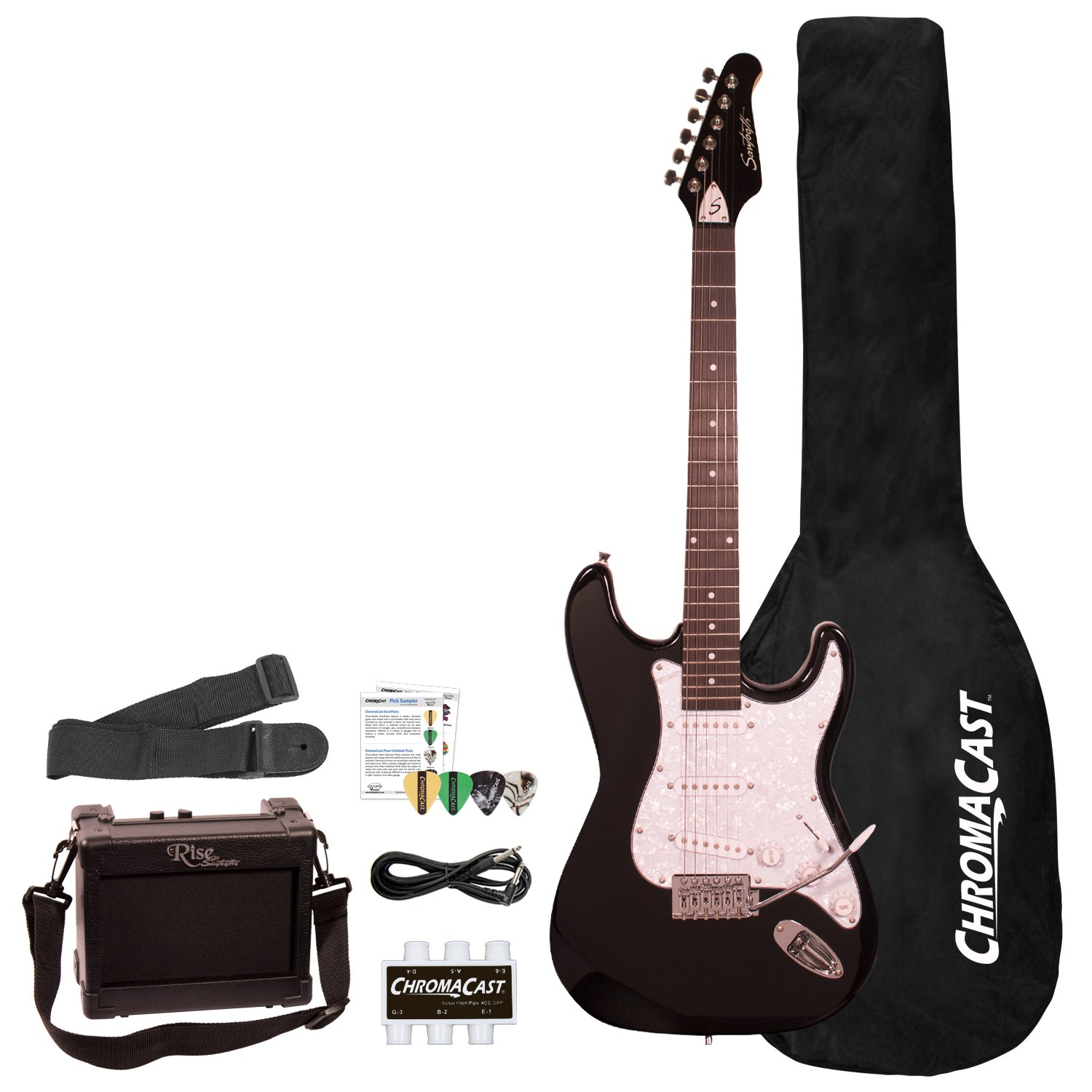 Sawtooth ST-ES-FBRC-BEG ES Series ST Style Electric Guitar Beginner's Pack, Fire Brick Red with Chrome Pickguard