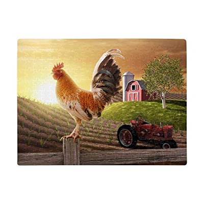 Personalized Rooster Perched Upon Farm Fence Puzzles Rectangle Jigsaw Puzzle with Funny Picture Art for Adults Children Wedding Anniversary Birthday A3 Size 252 Pieces: Toys & Games