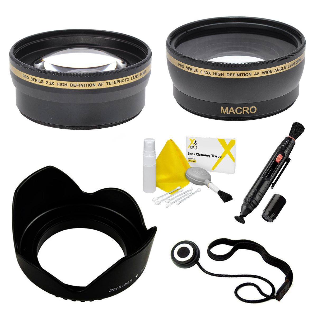 58mm Essential Lens Kit for Select Sony Cybershot Digital Cameras. Includes 2.2x Telephoto Lens, 0.43x HD Wide Angle Lens w/Macro, Flower Tulip Lens Hood. Also Includes: UltraPro Accessory Set by UltraPro