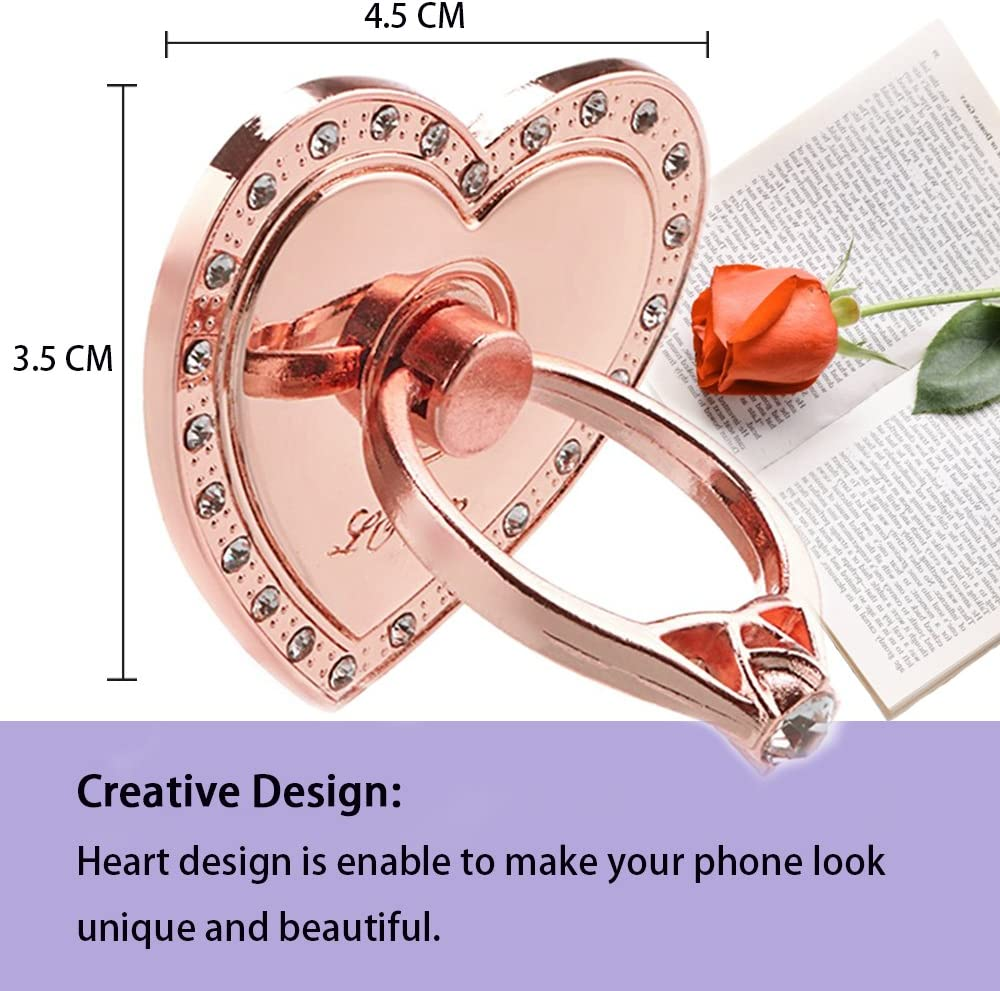 Universal Phone Stand 8Plus Huawei All Cell Phone iPhone X iPhone 8 IHUIXINHE Phone Ring Holder 7 7Plus Heart Samsung S9 Note8 4PCS 360/° Rotation 3D Aluminium Alloy Ring Grip for iPad
