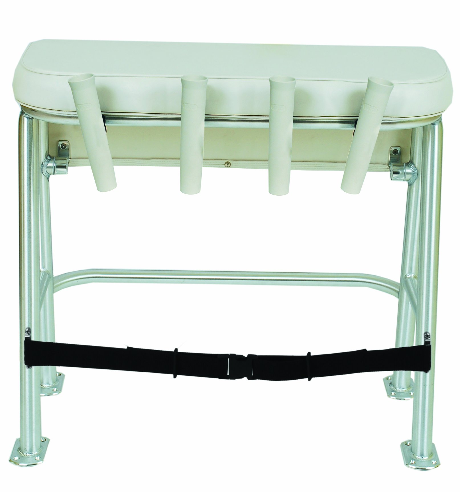 Taco Metals Neptune III Leaning Post with Smooth White Upholstery and 4 Poly Rod Holders