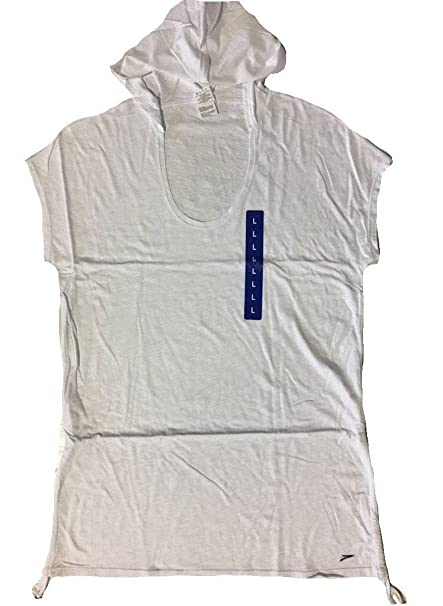 bda2775a1d64b Amazon.com: NEW Speedo Women's Swim Cover Up With Adjustable Length (White,  Small): Sports & Outdoors