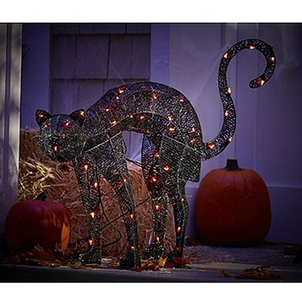 KSA 32'' Light Up the Night Lighted and Animated Black Cat Halloween Decoration