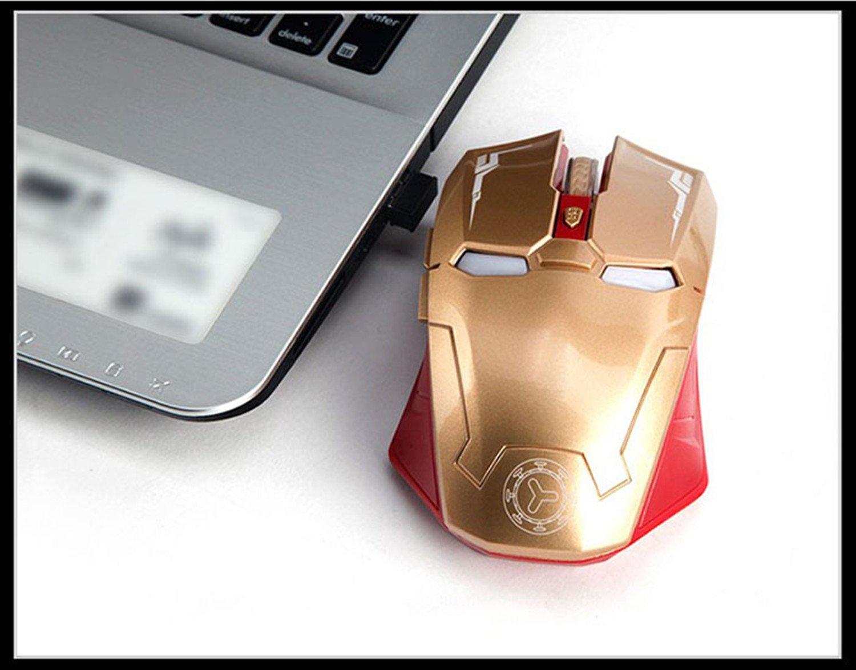 Notebook Computer 3 Livelli di Regolazione DPI Taonology Mouse da Gioco Wireless Iron Man Mouse Bluetooth 2.4G con Ricevitore USB Nano per PC Laptop MacBook