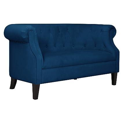Magnificent Ravenna Home Westcott Tufted Loveseat Sofa 60 Inch Blue Velvet Ncnpc Chair Design For Home Ncnpcorg