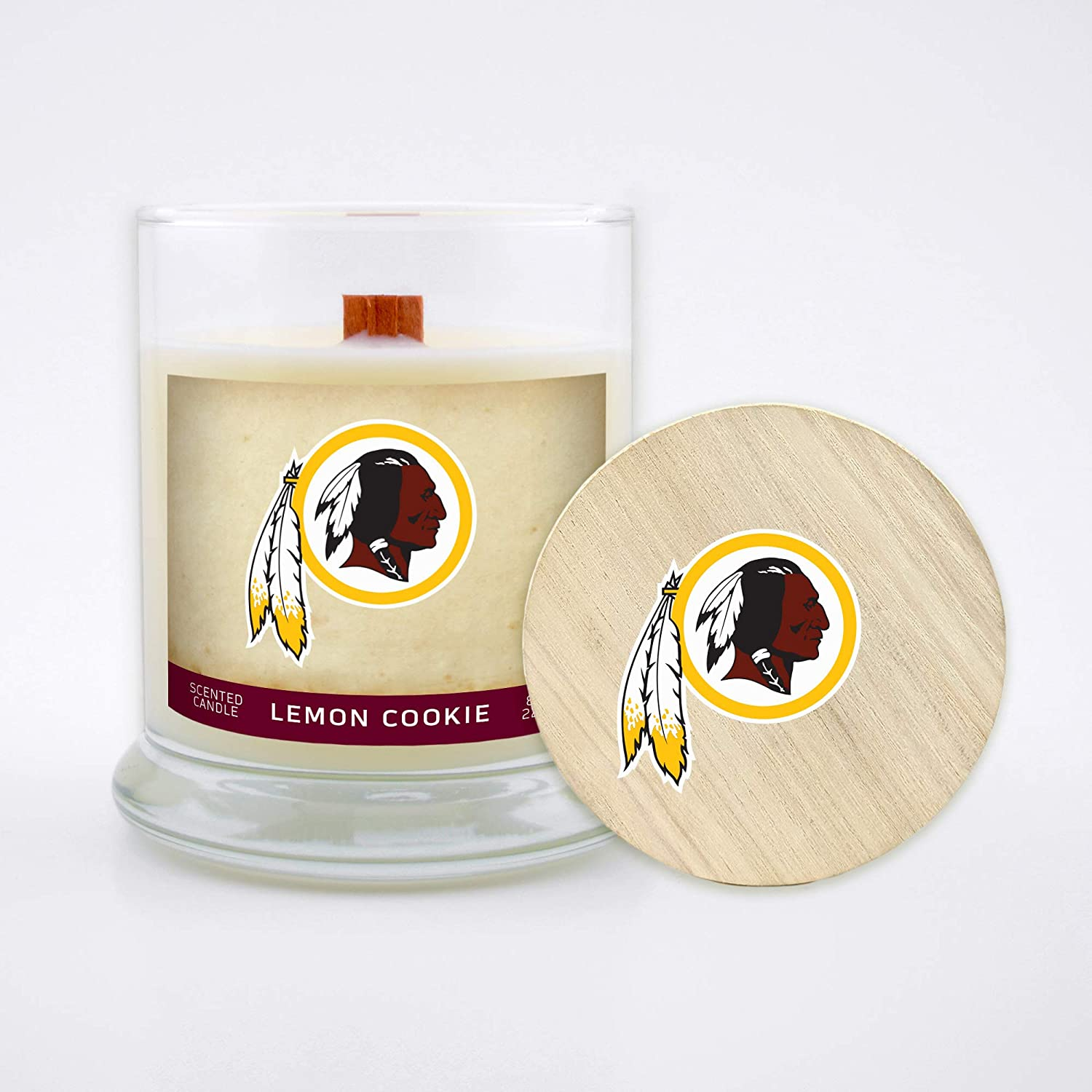 Worthy Promo NFL Washington Redskins Gifts 8oz Scented Candle Soy Wax w//Wood Wick and Lid Lemon Cookie