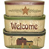 Set of 3 8 x 8 x 7//7 x 7 x 6//6 x 6 x 5 Multi 8 x 8 x 7//7 x 7 x 6//6 x 6 x 5 Multi Craft Outlet Inc 30665 Craft Outlet Country Farmhouse Welcome Nesting Box