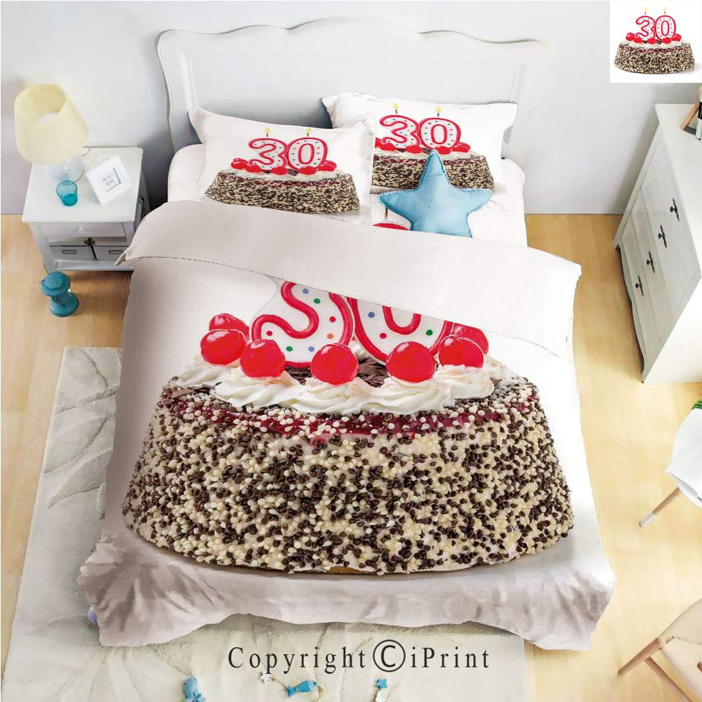 Homenon Bedding 4 Piece Sheet,Birthday Cake with Cherries on Top and Burning Candles Number 30,Multicolor,Full Size,Wrinkle,Fade Resistant