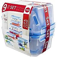 Emsa Clip und Close Frischhaltedosen Set, kunststoff, transparent/blau, verschiedene Größen, 9er Pack
