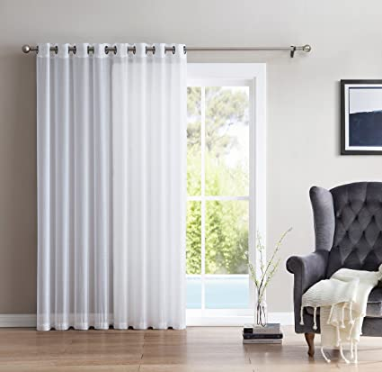 ME One Panel Extra Wide Semi Sheer Voile Patio Door Grommet Curtain Panel for Sliding Doors (White) - 100  x 84  inch Home u0026 Kitchen & Amazon.com: HLC.ME One Panel Extra Wide Semi Sheer Voile Patio Door ...
