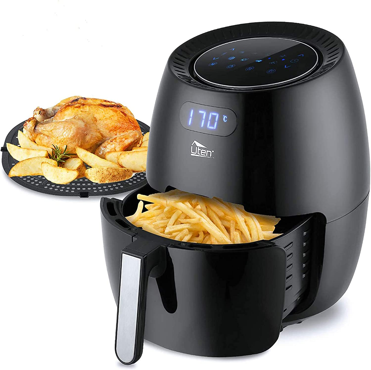 Air Fryer Uten 6 5l Power Air Fryer With Digital Display Rapid Air Circulation System Adjustable Temperature And 30 Minute Timer For Healthy Oil Free Low Fat 1800w Amazon Co Uk Kitchen Home