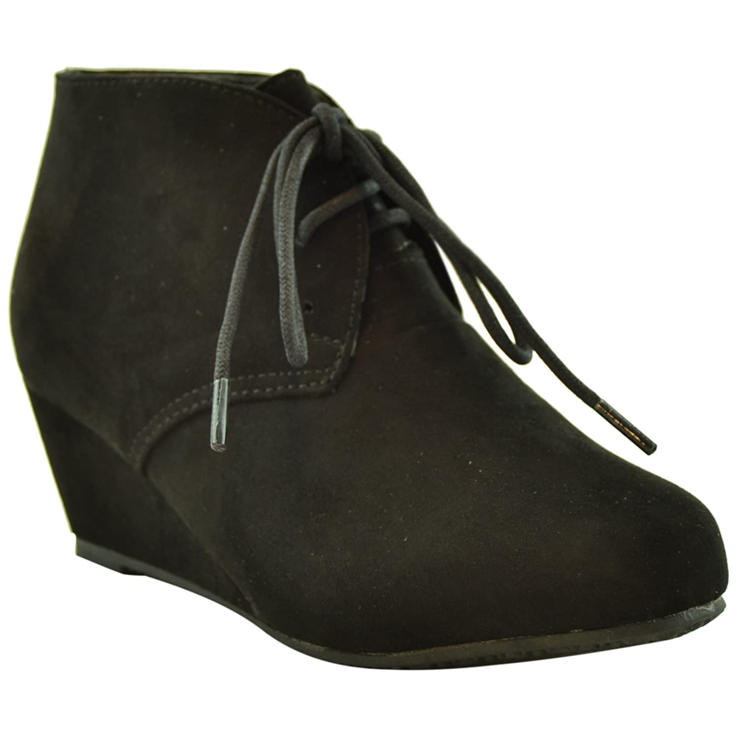 44225514fbce Kids ankle boots faux suede low heel casual wedges black boots jpg  1500x1500 Black low wedges